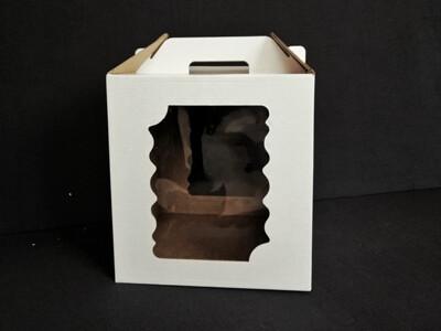 Коробка для торта с ручкой 24*24*26. 2 фигурных окна