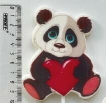 "Топпер сахарный ""Панда с сердечком""."