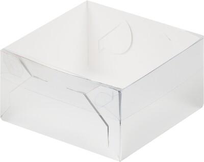 Коробка для зефира и пирожных с пластиковой крышкой 155*155*60 мм СЕРЕБРО