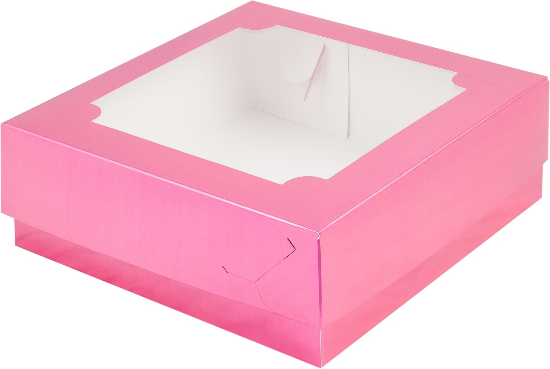 Коробка под зефир и печенье с окошком 200*200*70 мм (фуксия)