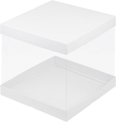 Коробка для торта Премиум прозрачная белая 26х26х28