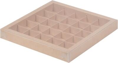 Коробка для 25 конфет с пластиковой крышкой 245*245*30 (крафт)
