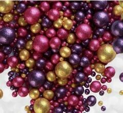Шарики кранч БЛЕСК  золото, фиолетовый, фуксия микс 50 гр.
