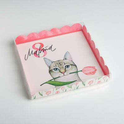 Коробка для пряников «,Кот, 8 Марта», 21 × 21 × 3 см