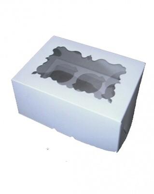 Упаковка для 6 капкейков белая с фигурным  окном