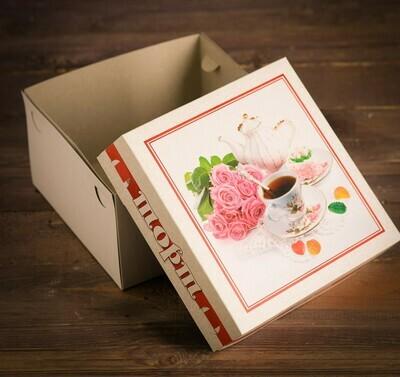 """Коробка для торта """"Чаепитие"""" 21,5 х 21,5 х 12 см"""