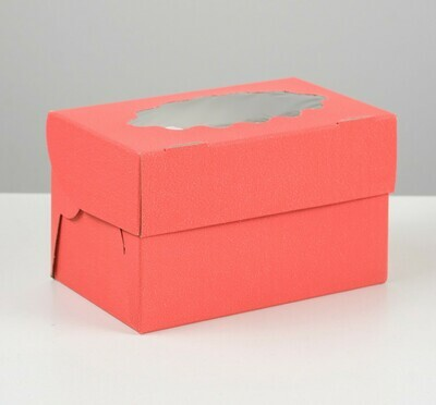 Коробка на 2 капкейка, красная, 10 х 16 х 10 см