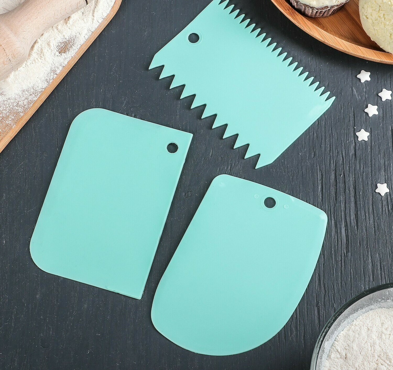 Набор шпателей кондитерских, 12×8 см, 3 предмета, цвет МИКС