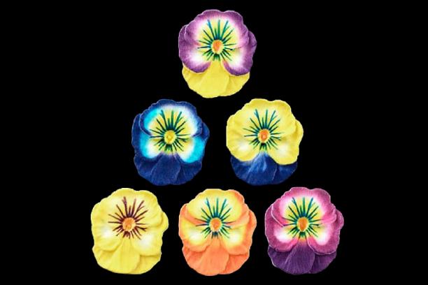 Сахарные цветы Анютины глазки (цвет микс) 8шт. д 5 см
