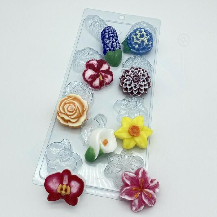 Пластиковая форма для шоколада Цветочное ассорти