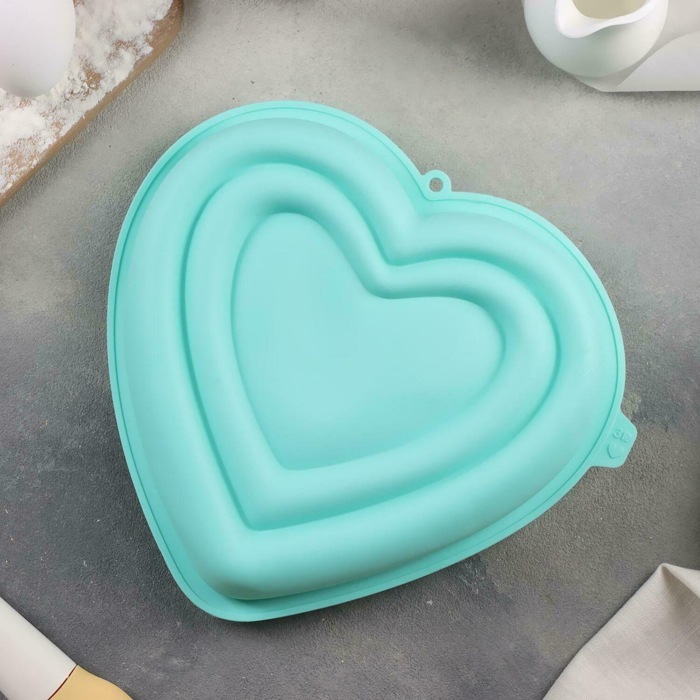 Форма для муссовых десертов  «Сердце в сердце», 22×20×7 см