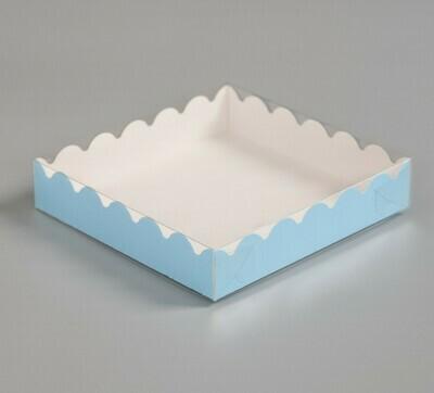 Коробочка для печенья 12х12х3 см голубая