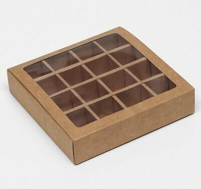 Коробка для 16 конфет, крафт, 17,5 х 17,5 х 4 см