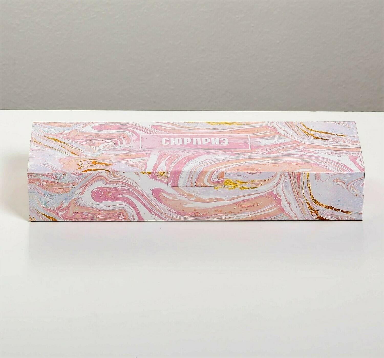 Коробка складная «Сюрприз» розовый мрамор, 30 х 10 х 5 см