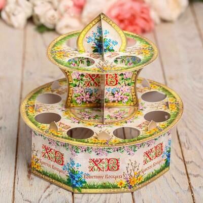Подставка Пасхальная на 12 яиц «Цветочная», 20 х 20 см картон