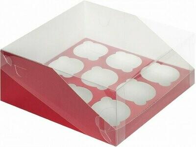 коробка для 9 капкейков КРАСНАЯ с панорамным окном 235х235х110
