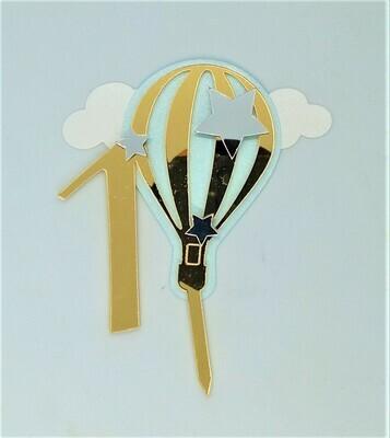 Топпер зеркальный акрил Цифра 1 на голубом воздушном шаре