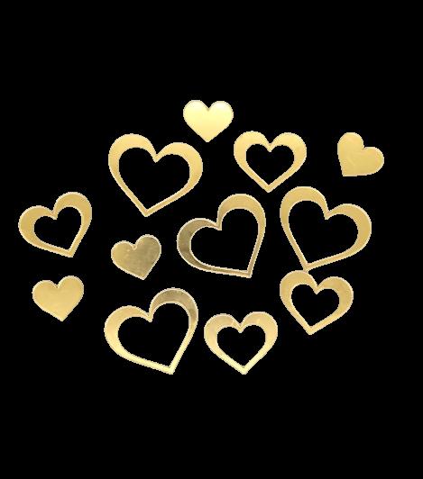 Набор сердечек из зеркального акрила. 12 шт.