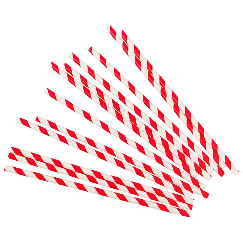 Трубочки бумажные Красно-белые 19,5см 10 шт.
