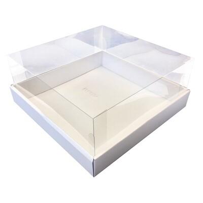 Коробка для торта  с прозрачной пластиковой крышкой. Р-р 240*240*110