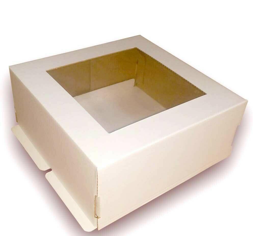 Коробка  для торта гофрокартон с окном 30х30х13 см