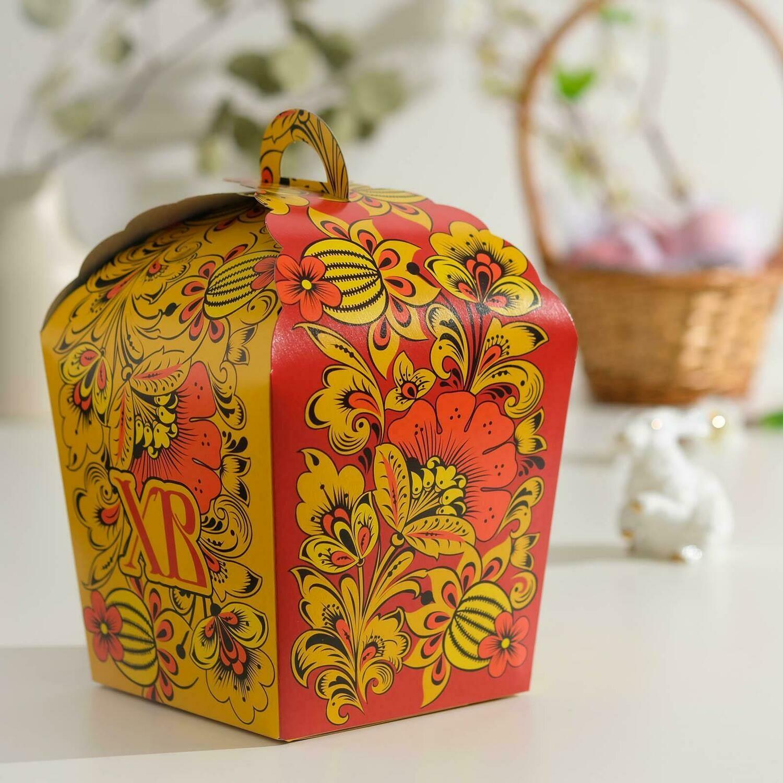 """Пасхальная коробочка """"ХВ"""", красная хохлома, 17 х 17 х 26 см"""