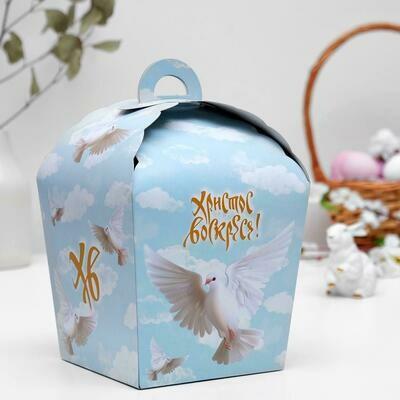 """Пасхальная коробочка """"ХВ"""", белый голубь, 17 х 17 х 26 см"""