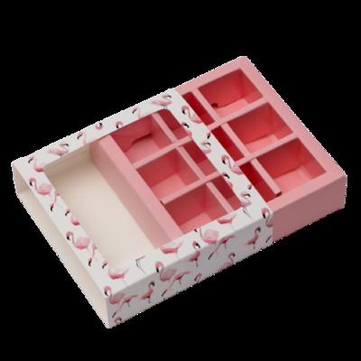 "Коробка под 9 конфет с обечайкой ""Фламинго"" с окном 14,5 х 14,5 х 3,5 см"