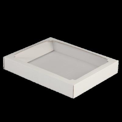 Коробка сборная, крышка-дно, с окном, белая, 26 х 21 х 4 см плотный картон
