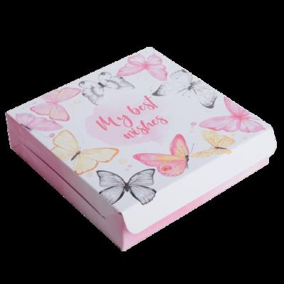 Коробка складная Best wishes с бабочками, 14 × 14 × 3,5 см