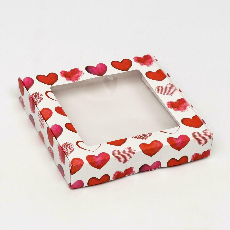 """Коробочка для печенья """"Сердечки"""", 16 х 16 х 3 см"""