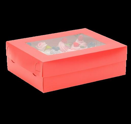 Коробка на 12 капкейков с окном, красная, 32,5 х 25,5 х 10 см