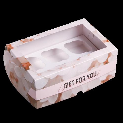Коробка на 6 капкейков цветы Gift for you 17 х 25 х 10см