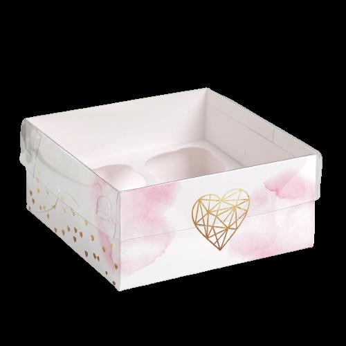 Коробка на 4 капкейка Love, 16 × 16 × 7.5 см