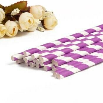 Трубочки бумажные Фиолетово-белые 19,5см 10 шт.