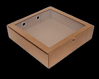 Коробка для пирогов, тортов, пирожных 28х28х7 с окном крафт