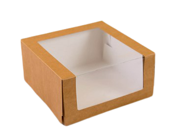 Упаковка крафт с панорамным окном 21х21х10 см