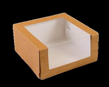 Упаковка крафт с панорамным окном. 23,5х23,5х11,5 см