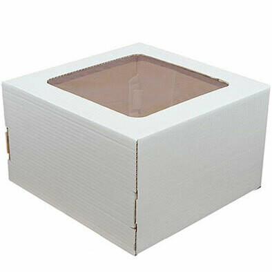 Коробка усиленная для торта гофрокартон с окном 22х22х13 см