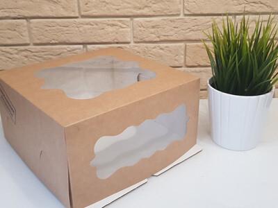 Коробка для торта 240*240*120 с фигурными окнами  КРАФТ