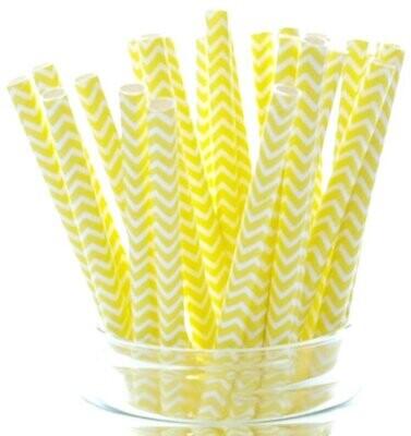 Трубочки бумажные Желтый зигзаг 19,5см 10 шт.