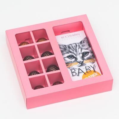 Коробка под 8 конфет + шоколад, с окном, розовая, 17,7 х 17,85 х 3,85 см