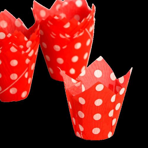 Форма Тюльпан Красный в белый горох 1 шт.