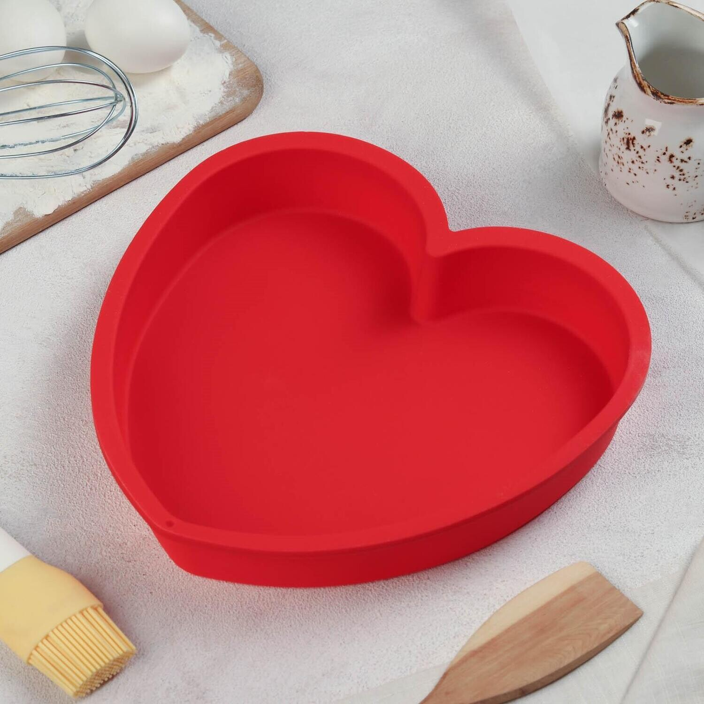 Форма для выпечки силиконовая «Сердце», 24×23×4 см