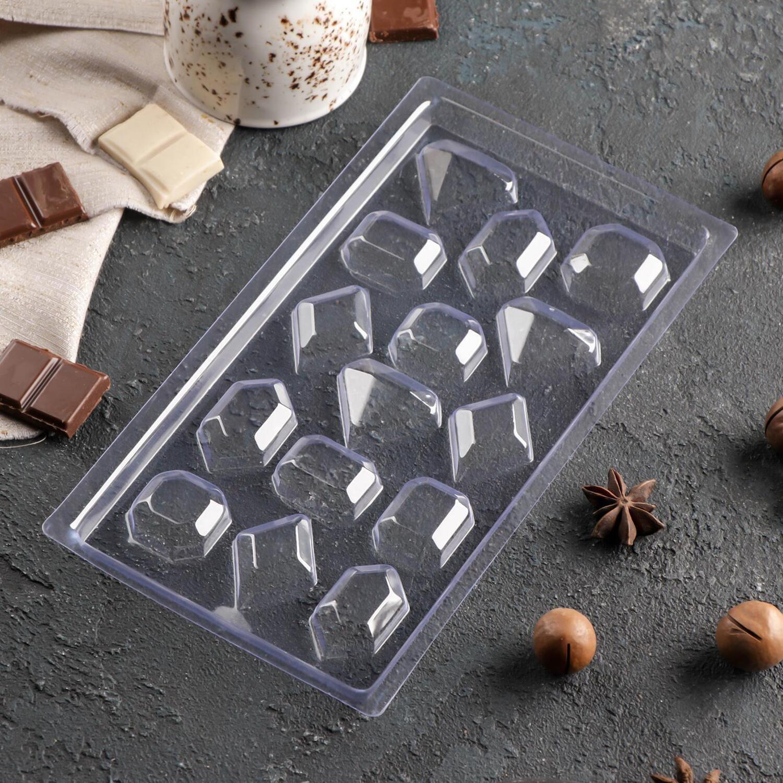 Форма для шоколада пластиковая «Самоцветы», 22×11 см, 15 ячеек