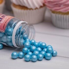 Посыпка  жемчуг сахарный Голубой 10мм 50 гр.