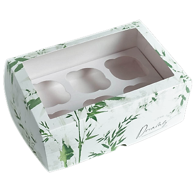 Коробка на 6 капкейков Бамбук  17 х 25 х 10см