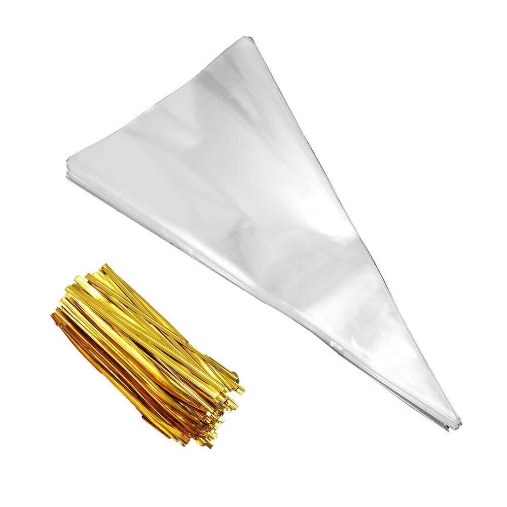 Конусные пакетики прозрачные с поворотными стяжками 18х37 см. 100 шт.