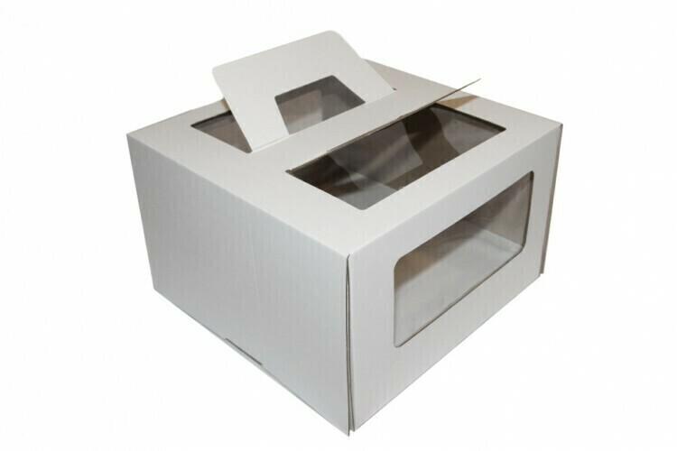 Коробка для торта 28х28х20 с ручками белая