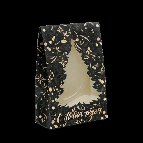 Коробка для новогоднего поджарка Gold, Елка черно-золотая15 × 7 × 22 см